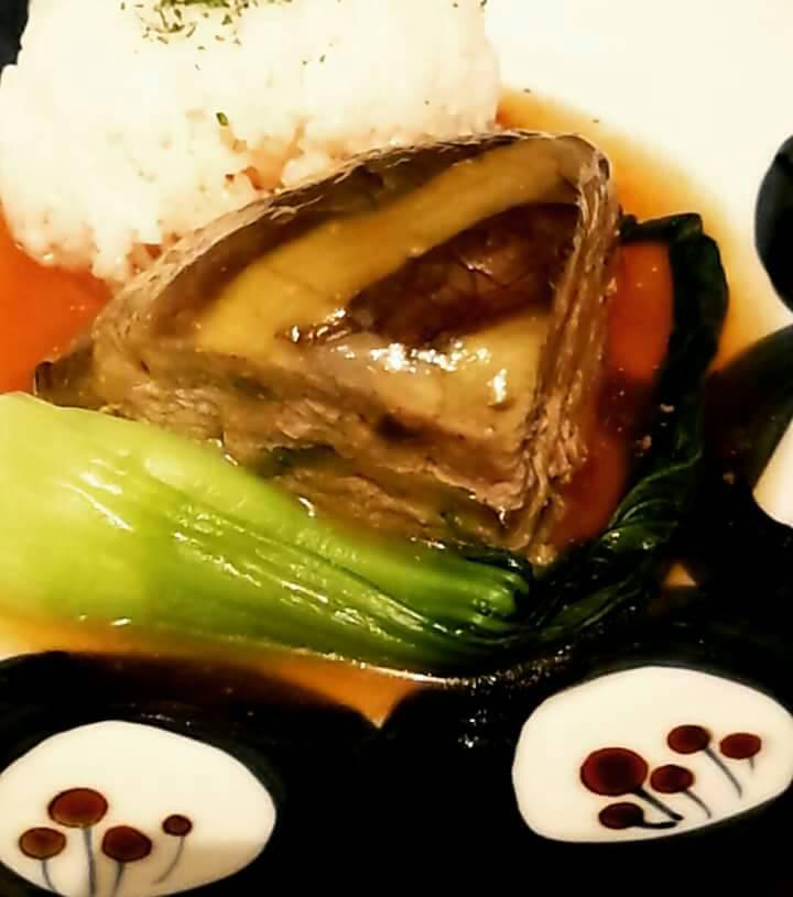 茄子と豚挽き肉の重ね蒸し、とろとろあんかけ